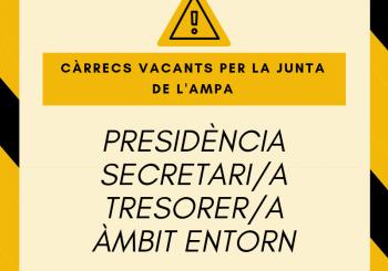 URGENT!! Cal cobrir els càrrecs vacants de la junta de l'Ampa
